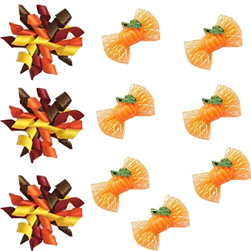 yagopet 20pcs/Pack Dog Hair Bows Thanksgiving Designs Dog Curves Bows and Pumpkin Halloween Bows with Rubber Bands Dog Topknot Bows Pet Dog Grooming Bows Supplies Dog Hair -