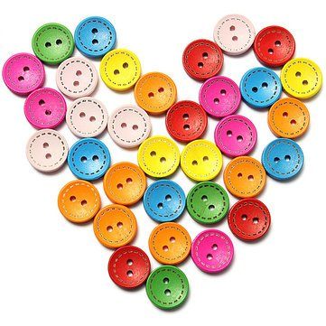 100pcs Mixed Round Wooden Children Garment Sewing Buttons by Shirley Reid