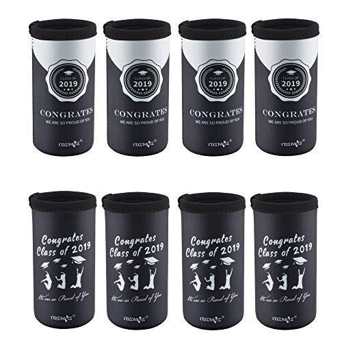 CM Soft Neoprene Slim Can Sleeves Insulators Slim Can Covers for 12 Fluid Ounce Energy Drink & Beer Cans for Graduation Class 2019 Party Decoration Gift (Grad Class 2019 (8 -