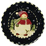 Snowman Delight Collection Hand-Painted Christmas Serving Platter by ecWorld