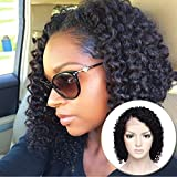 Curly Bob Lace Front Wig Brazilian Human Hair with Baby Hair Short Deep Wavy for Black Women Side Part Pre Plucked Slightly Bleached Knots- 10 inch #1B
