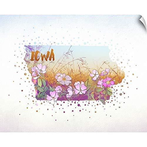 "CANVAS ON DEMAND Iowa State Flower (Wild Rose) Wall Peel Art Print, 20""x16"""