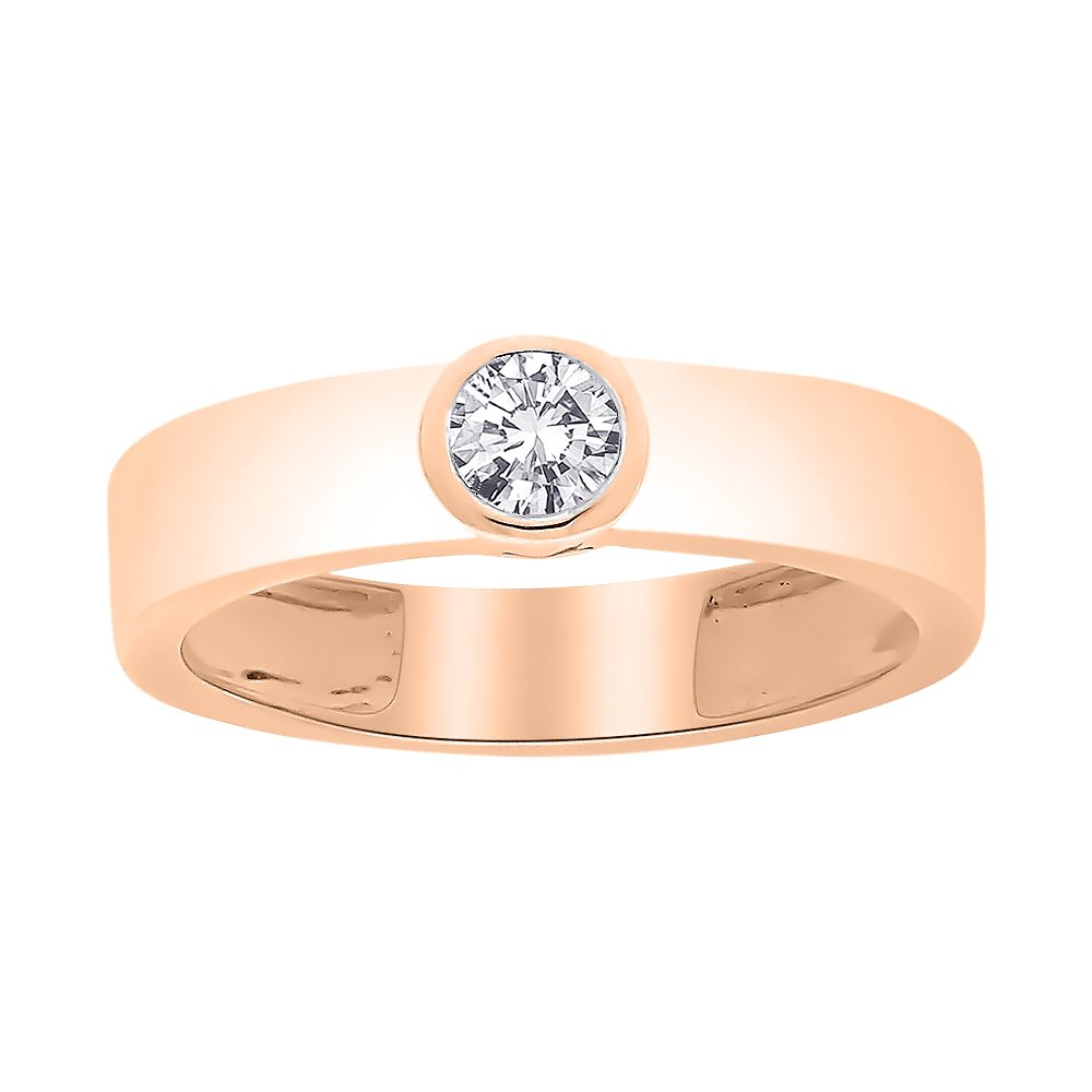 Diamond Solitaire Promise Ring in 14K Rose Gold (1/5 cttw) (I-Color, SI3-I1 Clarity) (Size-8)
