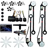 Electric Power Window Lifter Regulator Conversion Kit Universal 4 Door Automatic Electric Car Truck Power Window Conversion Kit Roll Up Conversion Kit Switches (USA Stock)