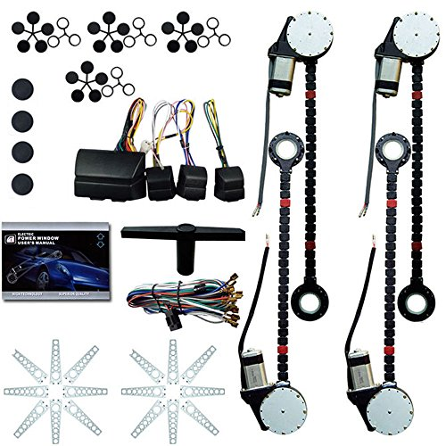 (Electric Power Window Lifter Regulator Conversion Kit Universal 4 Door Automatic Electric Car Truck Power Window Conversion Kit Roll Up Conversion Kit Switches (USA Stock))