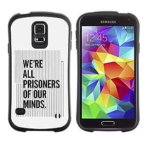 """Pulsar iFace Series Tpu silicona Carcasa Funda Case para Samsung Galaxy S5 , Todos los Prisioneros nuestras mentes Cita Pensamiento"""""""