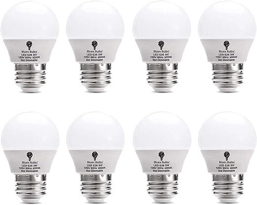 120V Small Night Light Bulbs for Bedroom Ceiling Fan Table Lamp Lighting LOHAS 3W LED Light Bulb E26 Medium Base Warm White 2700K LED Tiny Bulb G14 LED 25W Equivalent Light Not-Dim 6 Pack GK Lighting LH-BL-3W-2700k-6