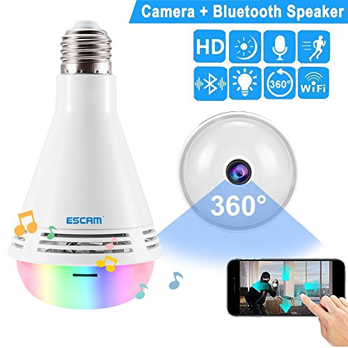 Aolvo Wirless Bluetooth Speaker Light Bulb with 1080P HD IP Camera,Smart APP Control RGB Color Changing 360° Wide Angle Fisheye Wireless Wi-Fi E27 LED Light Bulb for Home - Screw Camera Color