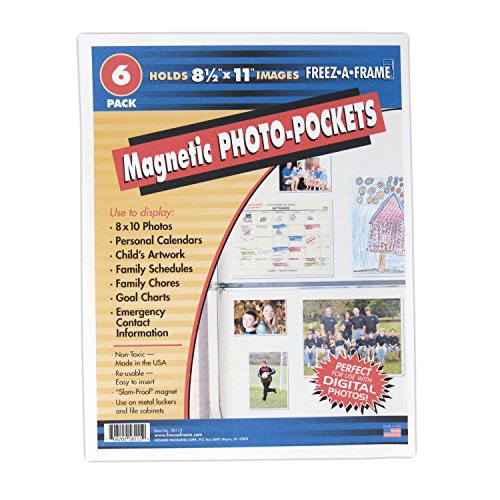 Clear Magnetic Pockets (6-pack) Home & Work Organizers | Magnetic Sheet Protector | Reusable, Dry Erase Exterior | Display Photos, Schedules, Calendars, Family Chore Charts | 8.5