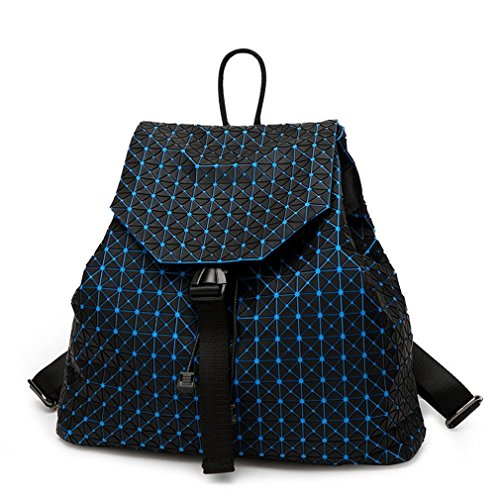 Girl Daily Backpack Geometry Package Sequins Folding Travel Bags blue black