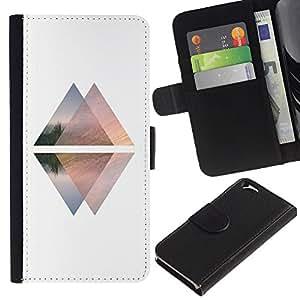 KingStore / Leather Etui en cuir / Apple Iphone 6 / Pirámide Blanca Negro Arriba Abajo Ascensor
