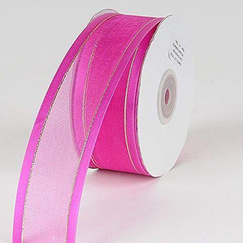 3/8'' Colors Fuchsia Organza w/Metallic Gold Satin Edge Ribbon Gift Wrap Arts and Craft 25 Yards 3/8' Satin Edge Organza Ribbon