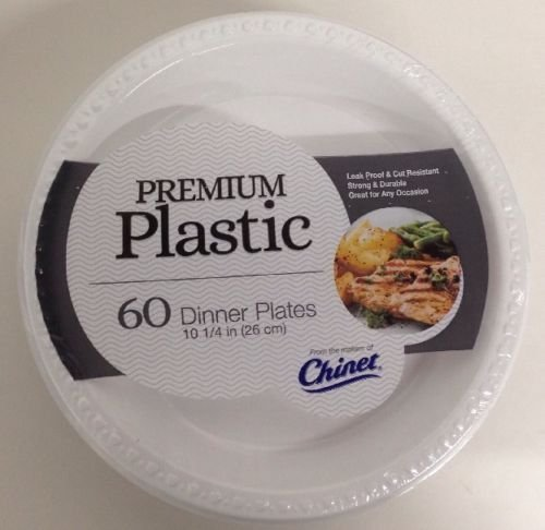 Chinet Premium Plastic Dinner Plates 10 1/4 Inch 60 Count Home Party Eating NEW