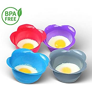 Silicone Egg Poacher Cups – Set of 4 BPA Free Non-Stick Poaching Pods for Cooking Perfect Poached Eggs – Microwave or Stovetop Egg Cooker - Includes Bonus Recipe eBook