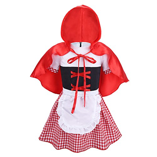 iiniim Infant Baby Girls Little Red Riding Hood Costume Halloween Princess Party Fancy Dress with Hooded Cloak Red&White 9-12 Months -