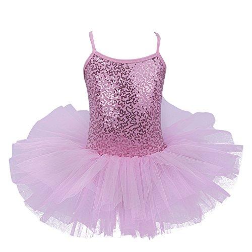 Figure Skating Costumes For Halloween (TiaoBug Girls Sequined Tutu Skirt Ballet Dance Dress Leotard Dance Costume Pink 6-7)