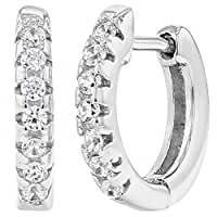 925 Sterling Silver Clear CZ Small Hoop Huggie Girls Earrings 10mm