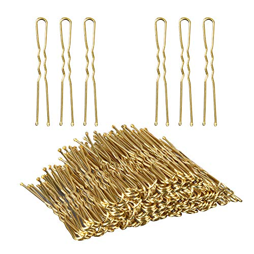 U Shaped Hair Pins,TsMADDTs 100 Pack of Bun Hair Pins with Box and Storage Bag, Golden (6 cm/2.36 Inches)