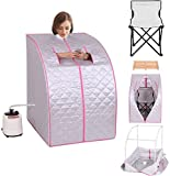 K&A Company Portable 2l Steam Sauna Spa Full Body Slimming Loss Weight with Chair Silver