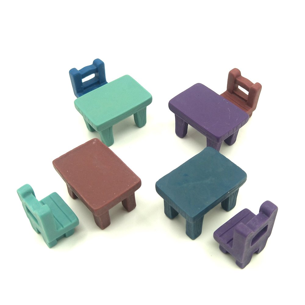 EMiEN 8 Pieces Tables Chairs Miniature Ornament Kits Set for DIY Fairy Garden Dollhouse Decoration , 4 Desks,4 Chairs