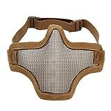 UNIQUEBELLA Tactical Airsoft Mask Striker Steel Half mask Face Guard Protector Tan Black