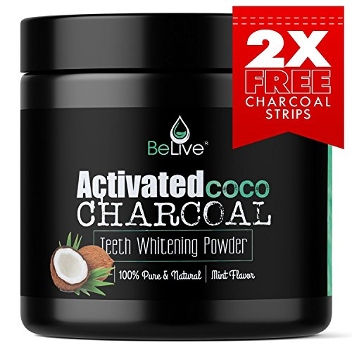 Teeth Whitening Charcoal Powder made from Activated Organic Coconut Shell – Eliminates Bad Breath, Coffee & Tea Stains, Oral Germs – 2 x FREE Activated Charcoal Strips Bonus 51hOWaAz9LL
