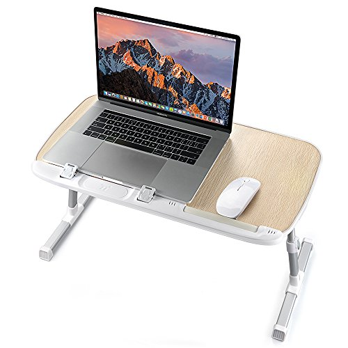 Laptop Desk for Bed, TaoTronics Foldable Lap Desk, Height Adjustable Laptop Table, Portable Bed Desk, Laptop Stand for Lap and Writing, Bed Tray Table for Couch and Sofa – Wood