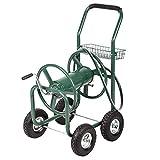 6ft leader hose - AyaMastro Green Water Hose Reel Garden Cart Planting w/Basket & 6 FT Leader Hose