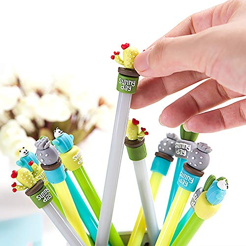 Elevin(TM)  Cartoon Cactus Gel Black Pens Kawaii Pens Cute Office Stationery Student -