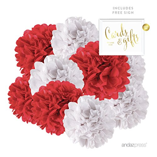 Andaz Press Hanging Tissue Paper Pom Poms Party Duo Decor Kit with Free Party Sign, Red and White, 8-Pack