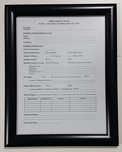 FIRE SAFETY PLAN FRAME - BLACK (STANDARD - ALUMINUM 8.5 x 11 - Store Frame Nyc