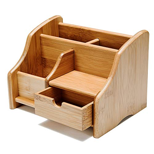 100% Natural Bamboo Desk Organizer, Premium Remote Control Caddy with 3 Compartments & 1 Drawer, Great for Desk, Vanity, Tabletop in Home or Office (with Drawer)
