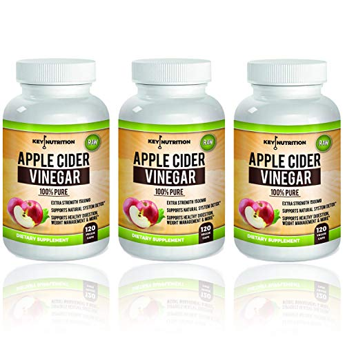 Apple Cider Vinegar 1500mg, 100 Organic, Pure Raw – Healthy Blood Sugar, Weight Loss, Digestion Detox Support – Pack of 3 180 Day Supply.