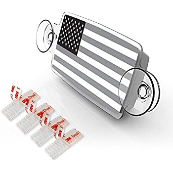 AutoBoxClub Black US Flag - EZ Pass Holder, IPass Holder/Toll Pass Holder for Most US States/Toll Pass Windshield Mount/Easy to Install and Remove/with 4pcs Toll Pass Mounting Strips/UV-Protective