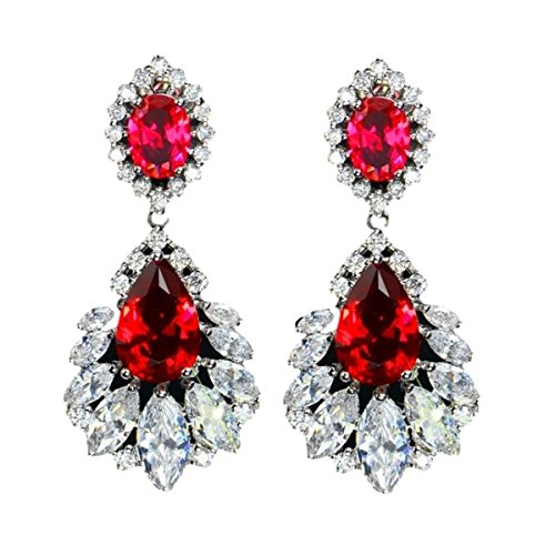 Wholesale Cubic Zirconia Costume Jewelry (Wedding Earrings Water Drop Dangle Cubic Zirconia CZ Stones Jewelry For Brides and Bridesmaids (Red))
