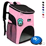 Image of Premium Pet Carrier Backpack for Small Cats and Dogs by PetAmi | Ventilated Design, Safety Strap, Buckle Support | Designed for Travel, Hiking & Outdoor Use (Pink)