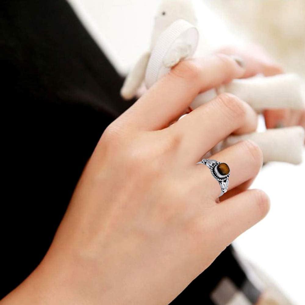Beau Cadeau De No/ël Pour Elle Maman Howlite Bijoux En Argent Sterling 925 Orchid Jewelry Aigue-Marine Saphir /Œil De Tigre Bague Pour Femme Onyx Rubis /Émeraude Calc/édoine Saphir