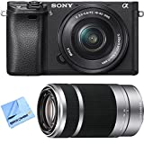 Sony ILCE-6300 a6300 4K Mirrorless Camera w/ 16-50mm + 55-210mm Zoom Lens Bundle includes Camera, 16-50mm Power Zoom Lens, 55-210mm Zoom Lens and Beach Camera Microfiber Cloth
