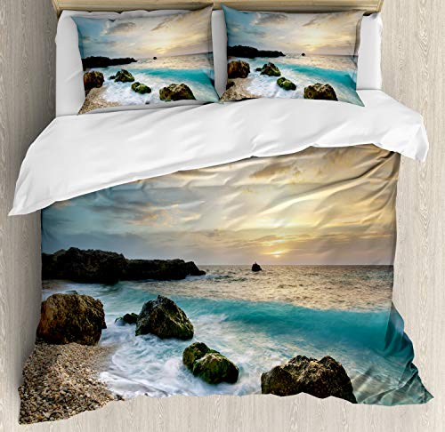 Ambesonne Ocean Duvet Cover Set, Seascape Composition of