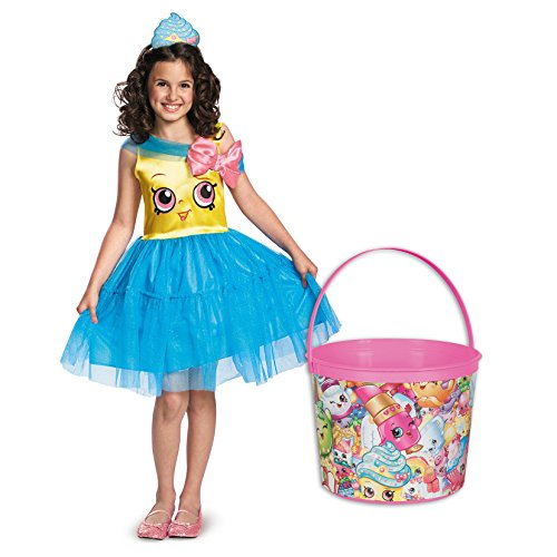(Shopkins Cupcake Queen Deluxe Child Costume and Candy Pail Bundle -)