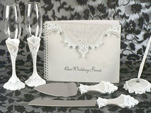 Scalloped Lace Pen - Wedding Favors Eleganza epoxy Lace collection set