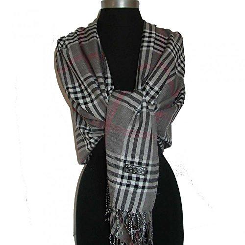 Gray_(US Seller)Women Men Tartan Plaid cape scarf Fashion