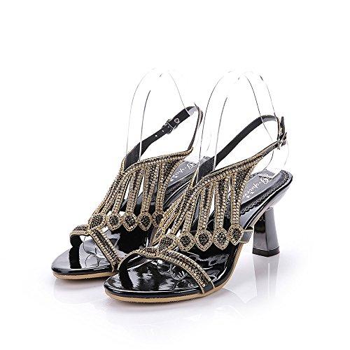 Unicrystal - Zapatos con correa de tobillo mujer Negro - negro