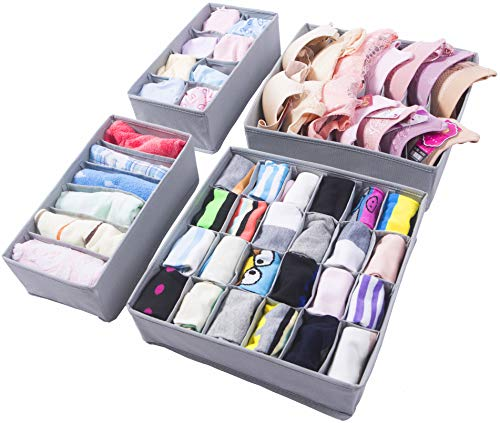 Amelitory Underwear Organizer Drawer Divider Foldable for Bras Panties Socks Ties 4 Set, Gray