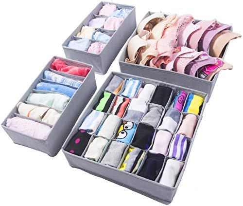 Organizador de ropa interior Amelitory Divisor de cajones plegable para sujetadores Bragas Calcetines Corbatas 4 juegos, gris