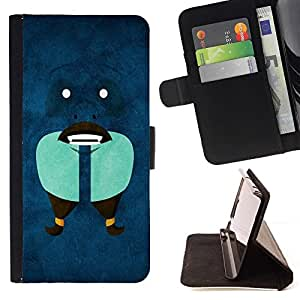 DEVIL CASE - FOR Sony Xperia M2 - Funny Abstract Face - Style PU Leather Case Wallet Flip Stand Flap Closure Cover