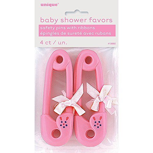 Pink Diaper Pin with Ribbon Girl Baby Shower Favors, 4ct