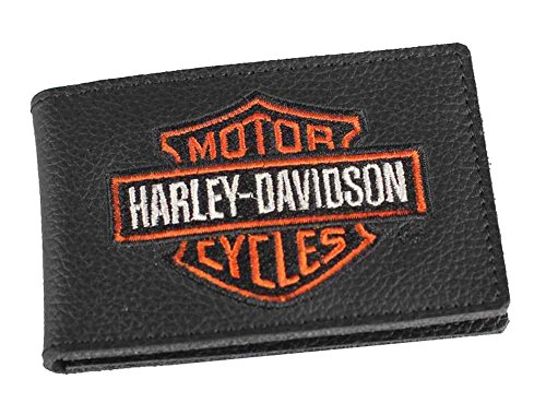 (Harley-Davidson Mens Embroidered B&S Duo-Fold Leather Wallet,)