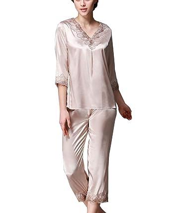 Pijamas Set de Satén Largo Camisones de Mangas y Pantalones Mujer Batas Kimono Camisón Túnica Ropa: Amazon.es: Ropa y accesorios