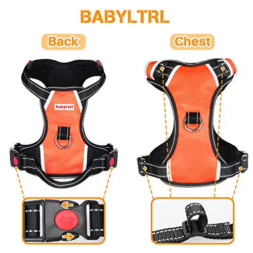 Big Dog Harness No Pull Adjustable Pet Reflective Oxford Soft Vest for Large Dogs Easy Control Harness (L, Orange)
